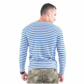 Singlet Svyatozar Long Sleeve 100% Cotton Striped Blue