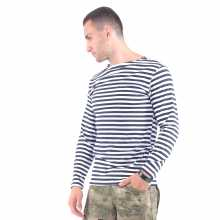 Singlet Zarechye Long Sleeve 100% Cotton Striped Black